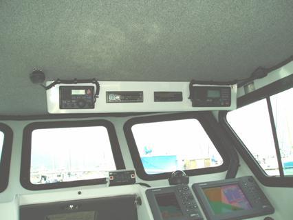 Fiberglass box holds radios, stereo