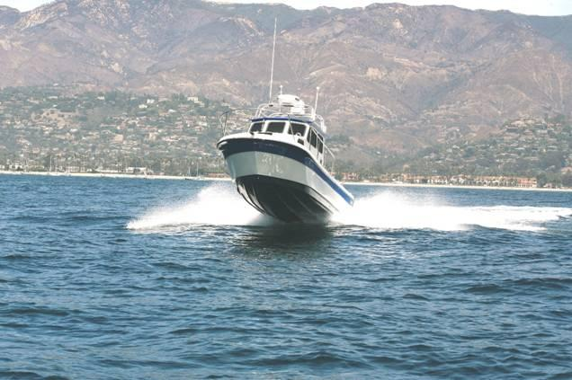 26' Radon, the Pelican, sea trials outside the Santa Barbara harbor