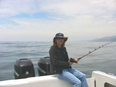 "Your editor fishing for halibut during the ""sea trial"""